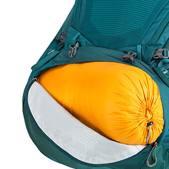 ZIPPERED BOTTOM SLEEPING BAG COMPARTMENT