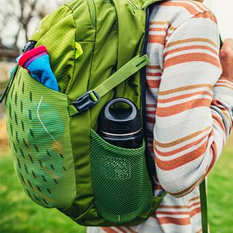 Twin side mesh water bottle pockets