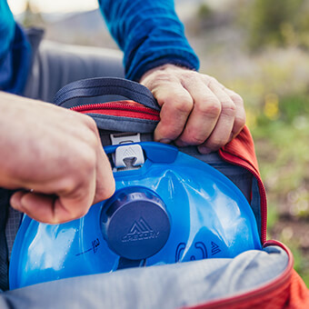 Day Hiking Mode - Compatible with 3D Hydro enabled packs, featuring the SpeedClip hydration mounting system for cross-over use