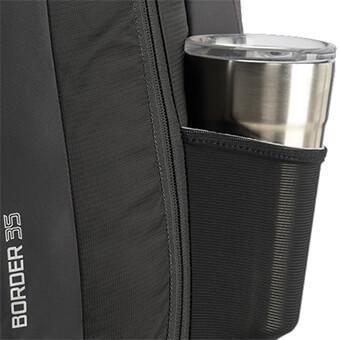 Stretch mesh side water bottle pocket