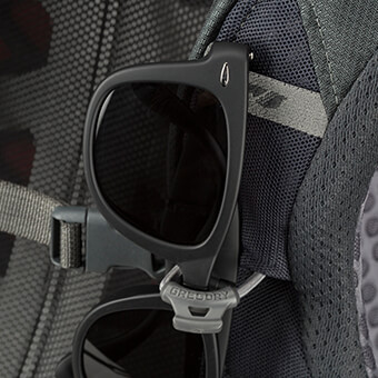 Sunglass QuickStow system on shoulder harness for quick, secure and scratch-free access to your shades without taking the pack off