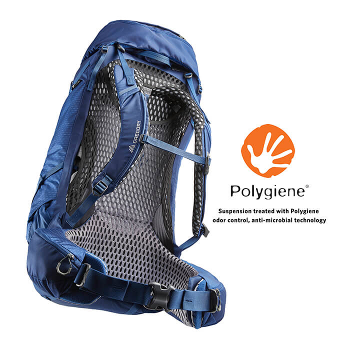 Polygiene® Stays Fresh Technology - The ventilated backpanel has an odor control fabric treatment that inhibits the growth of odor causing bacteria, keeping your pack fresher, longer
