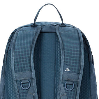 Ventilated, padded mesh backpanel and contoured shoulder straps with ventilated mesh
