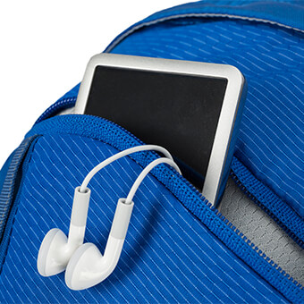 Front zippered pocket with soft-touch, padded liner to protect sunglasses and electronics