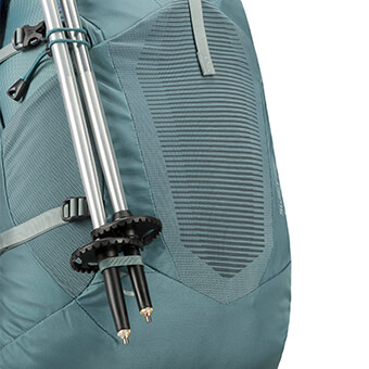 Stowable trekking pole attachment system with quick-hook clip