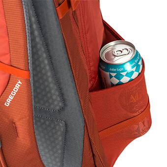 Stretch mesh side water bottle pockets