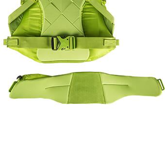 Sistema de cinturón lumbar desmontable, que deja un cinturón de estabilidad de 38 mm una vez desmontado.