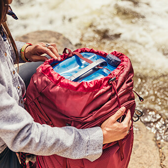 Backpacking Mode - The unique round shape is designed to fit in any multi-day top loading pack, secured by the drawstring closure and top compression - keeping your pack load balanced and allowing quick access for mid-day filtration