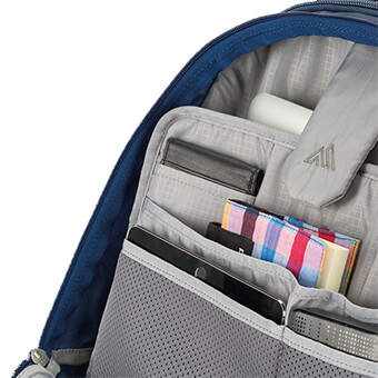 Zippered front compartment with padded laptop and tablet sleeves and office organisation