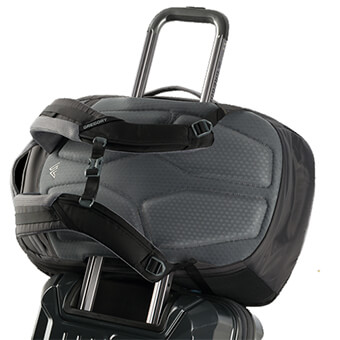 Wheeled luggage friendly backpanel pass-through