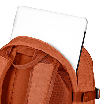 Exterior zippered padded laptop compartment with custom embossed liner *MUIR ONLY