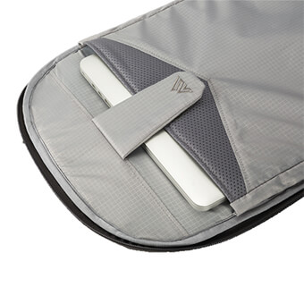 Independent 15.6 laptop & tablet area with padded protective lower gap