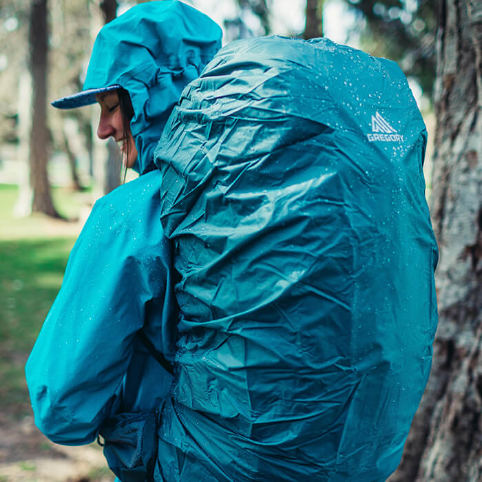 Custom fitted raincover - Custom fitted raincover included - stows in a quick access zippered pocket on underside of the top lid